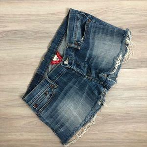 Lucky Brand cut off raw hem button fly shorts,  10